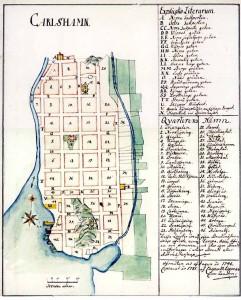 Äldre karta över Karlshamns rutnätsstad