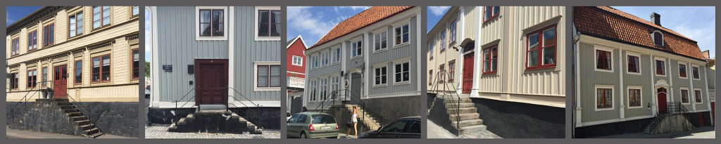 """Trähus med typiska """"Karlshamnstrappor"""" och höga socklar till följd av stora höjdskillnader. Foto och collage: Emina Kovacic"""