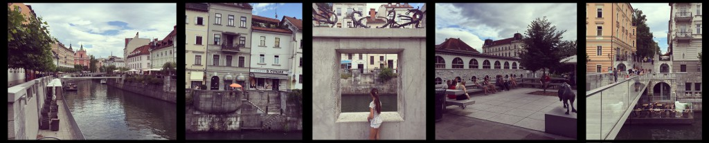 """Ljubljana tar verkligen vara på floden Ljubljanica som rinner igenom staden. Inte enbart genom att erbjuda utsikt mot vattnet utan snarare genom att möjliggöra för människor att på många olika sätt mötas i anslutning till floden, kunna uppleva den och """"känna på"""" vattnet när de rör sig i de variationsrika miljöerna. På något sätt känns vattnet väldigt närvarande hela tiden. Foto: Emina Kovacic"""
