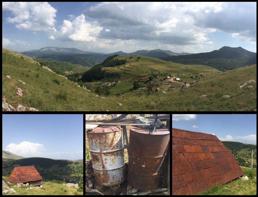 Fåraherdestugorna i den avlägsna Bergsbyn Umoljani utanför Sarajevo, vars tak utgörs av sträckt plåt från förbrukade, rostiga metalltunnor, visar att arkitektur kan uppstå i många oväntade sammanhang. Den definieras inte av påkostade material utan snarare av respekt för platsens förutsättningar och en kreativitet som föds ur själva begränsningen. Något man tydligt kan urskilja i lyckad temporär arkitektur. Foto och collage: Emina Kovacic