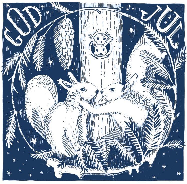 Illustration föreställande ekorrar av Louise Lindquist Sassene.