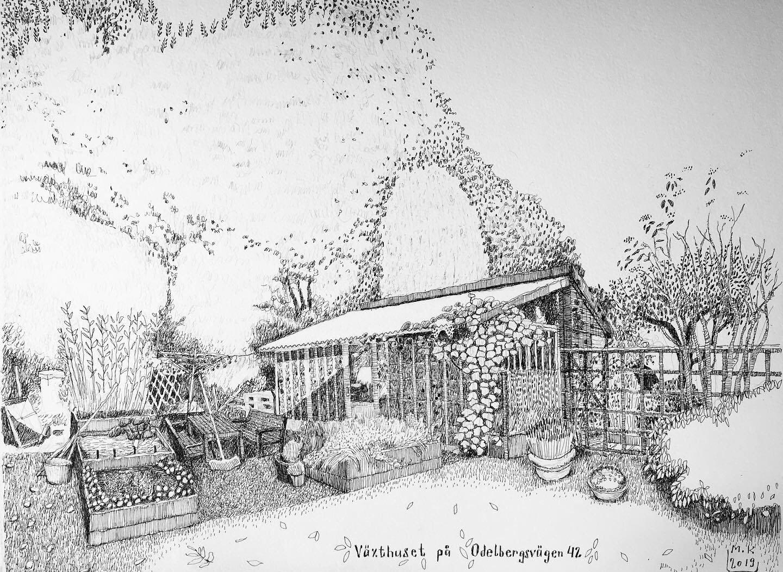 Illustration föreställande växthus av Moritz Kirchmeier.
