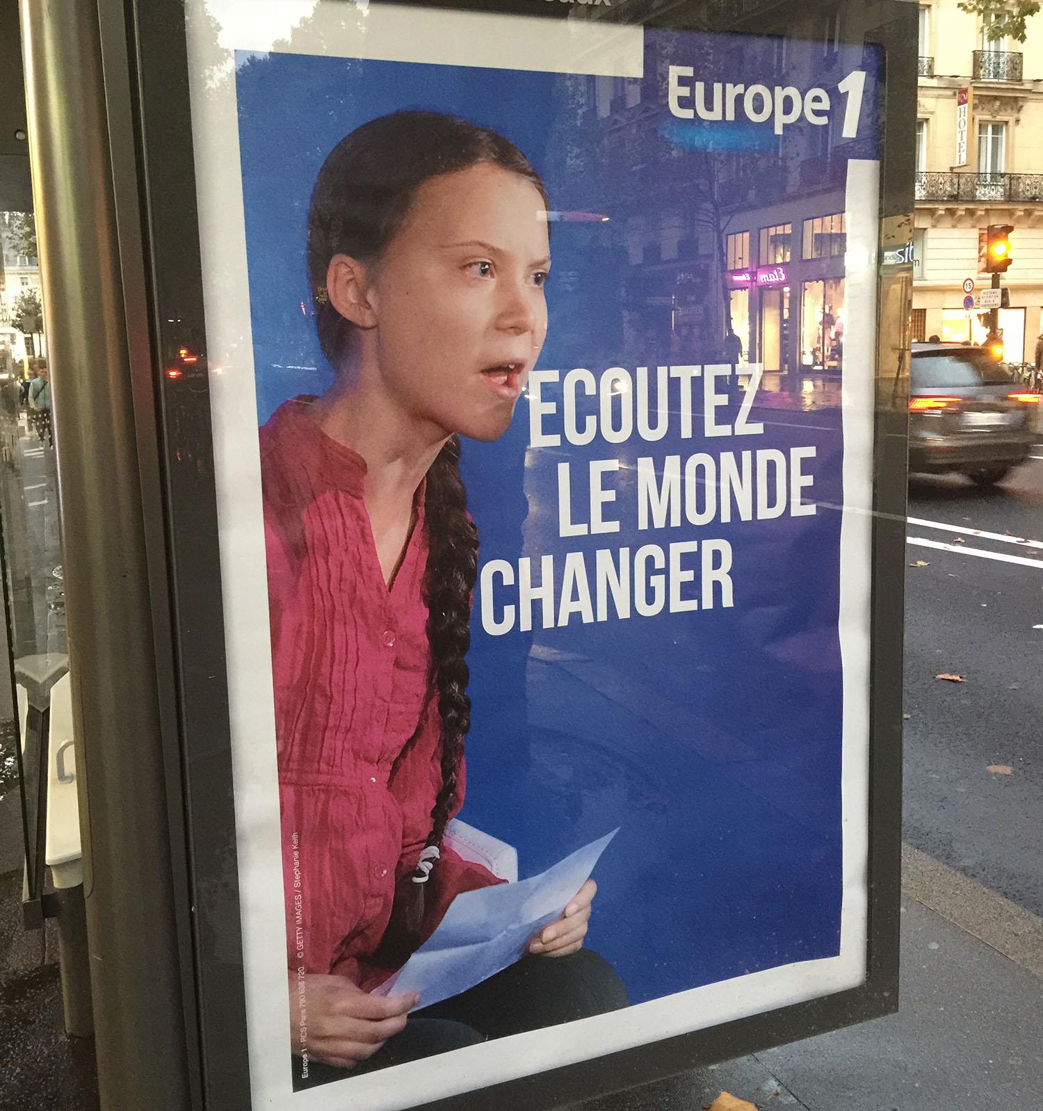 Greta Thunberg på affisch i Paris 2019. Foto: Annica Kvint