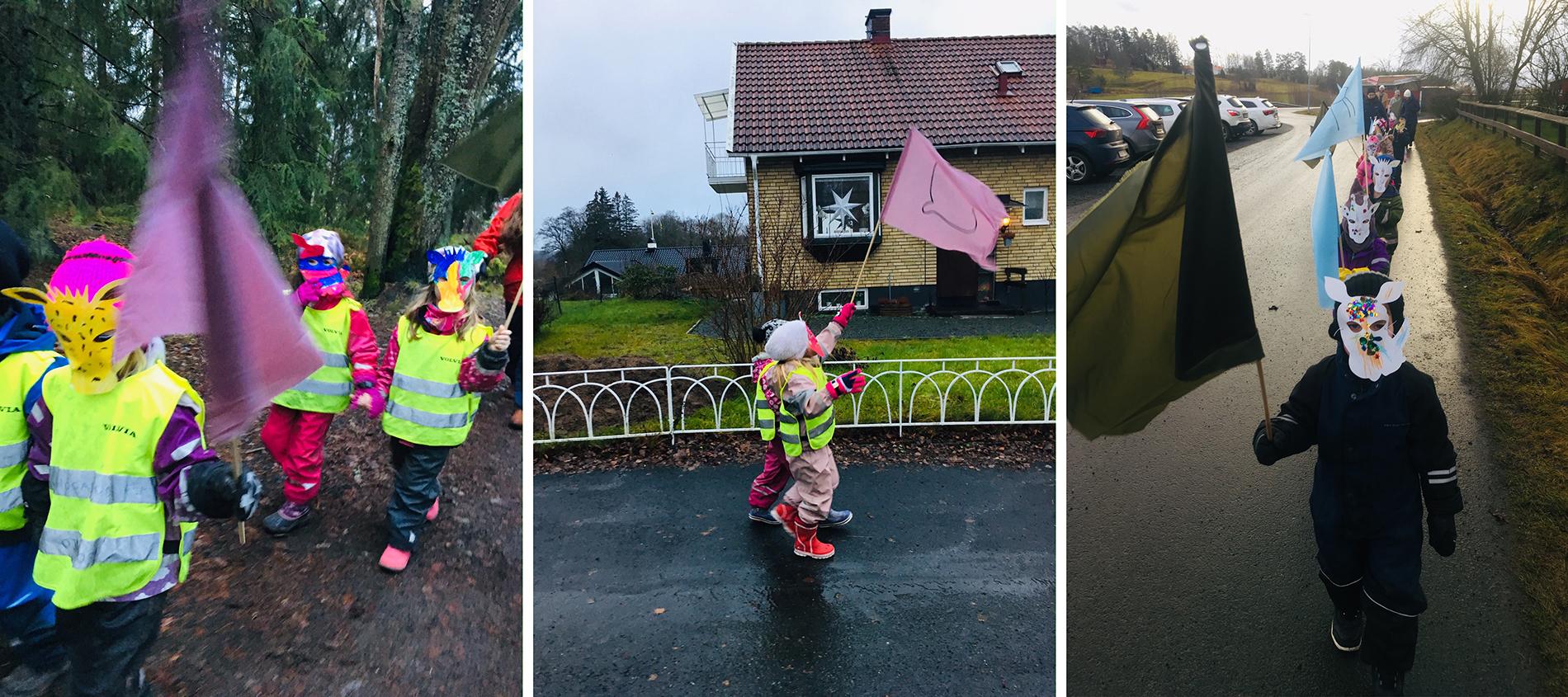 Förskolebarn i karnevalståg i de småländska grannsamhällena Tenhult och Ödestugu. Foto: Disorder