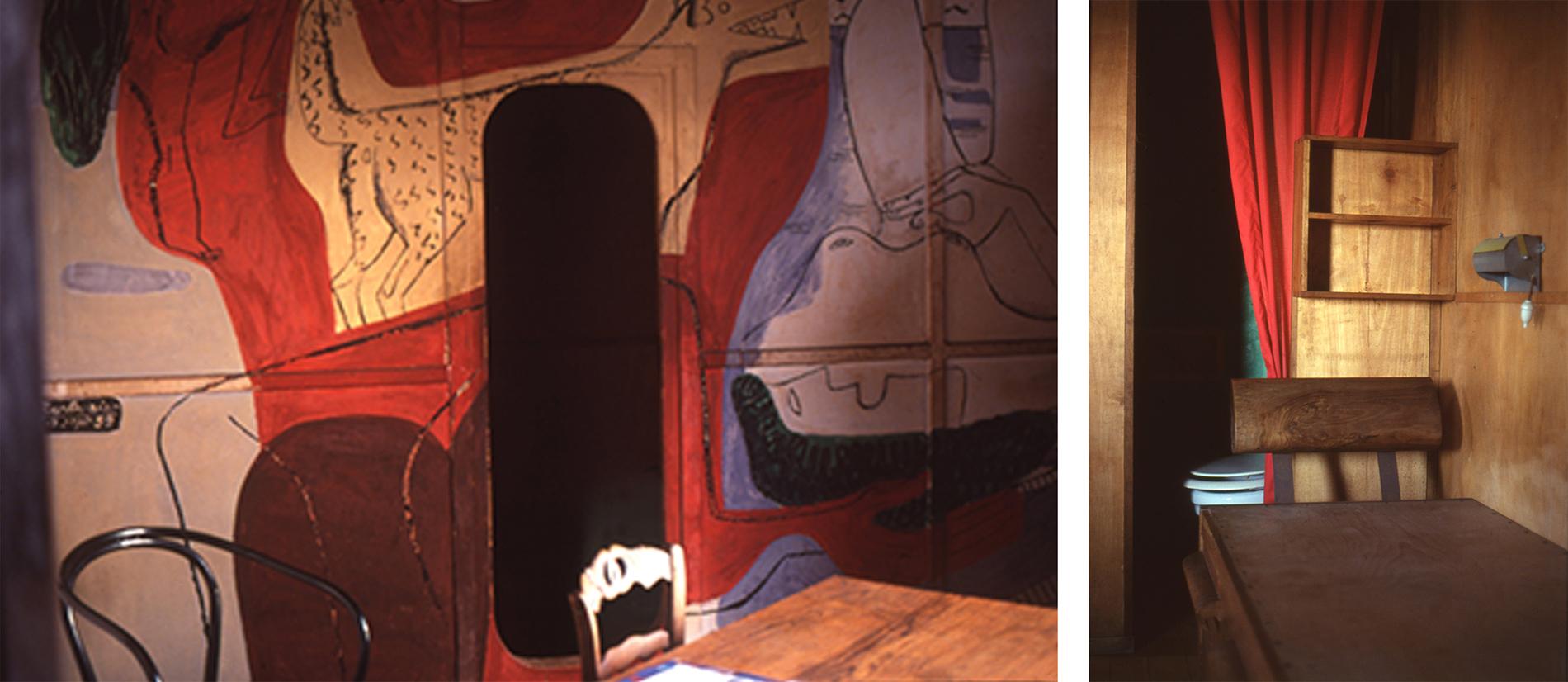 Bild tv: Målning från värdshuset med dörr in till Le Cabanon. Bild th: Interiör detalj med träsoffa och vattenklosett. Foton: Olle Svedberg