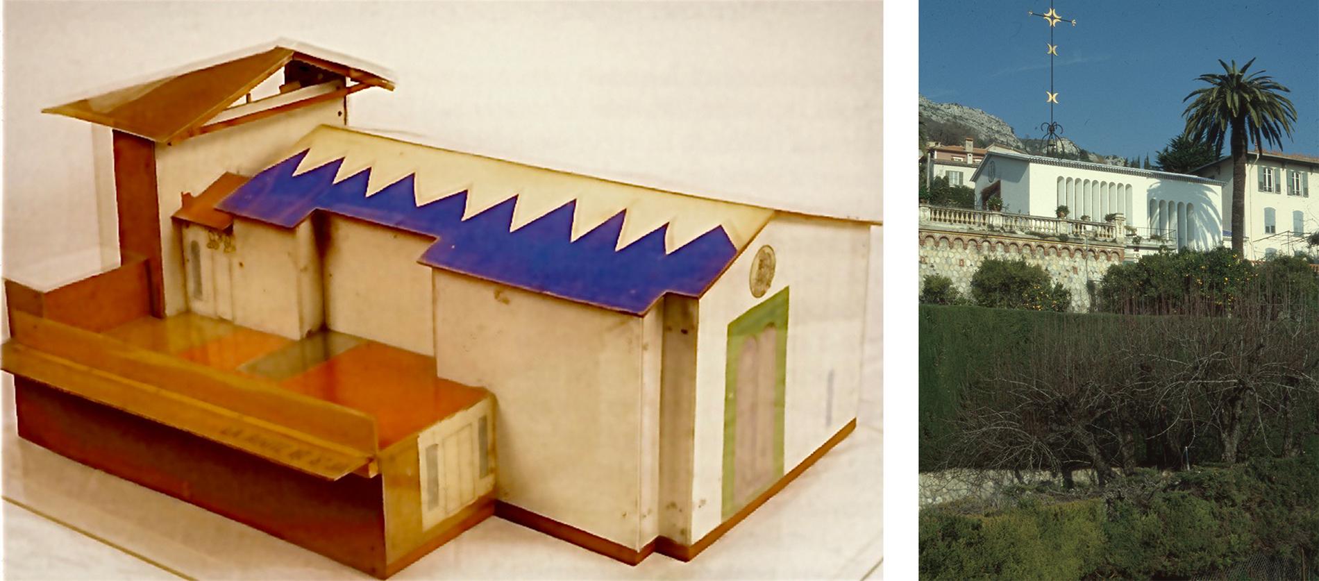 Bild tv: Modell av kapellet. Bild th: Kapellets exteriör. Foton: Olle Svedberg