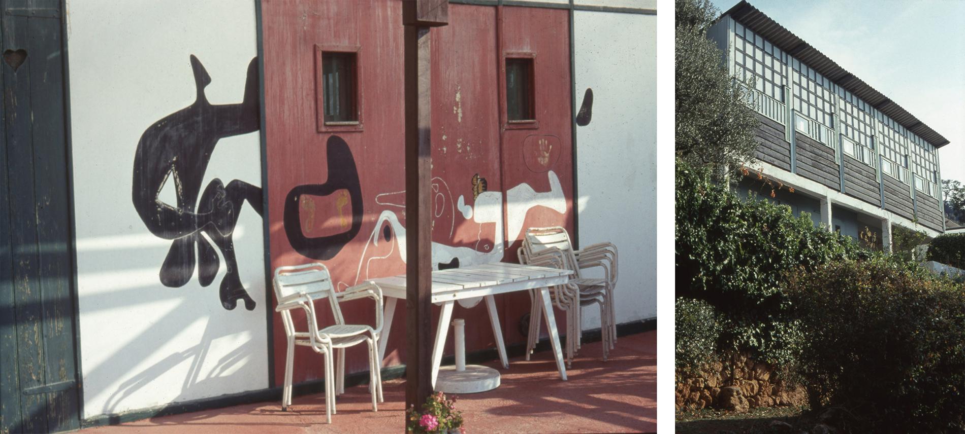 Bild tv: Exteriörmålning från värdshuset. Bild th: Unités de Camping ligger i närheten av Le Cabanon. Foton: Olle Svedberg