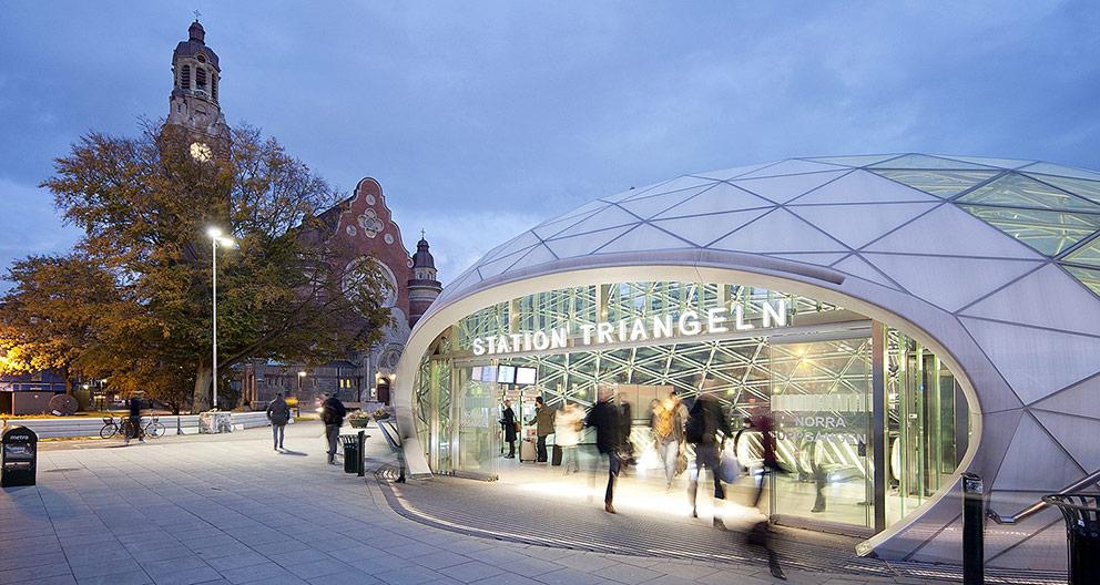 Citytunneln järnvägsstation Triangeln, vinnare av Kasper Salin-priset 2011. Ansvariga arkitekter: Sweco Architects och KHR arkitekter genom Lars Lindahl och designansvarig Nille Juul-Sørensen tillsammans med Lise Lind. Foto: Kasper Dudzik.