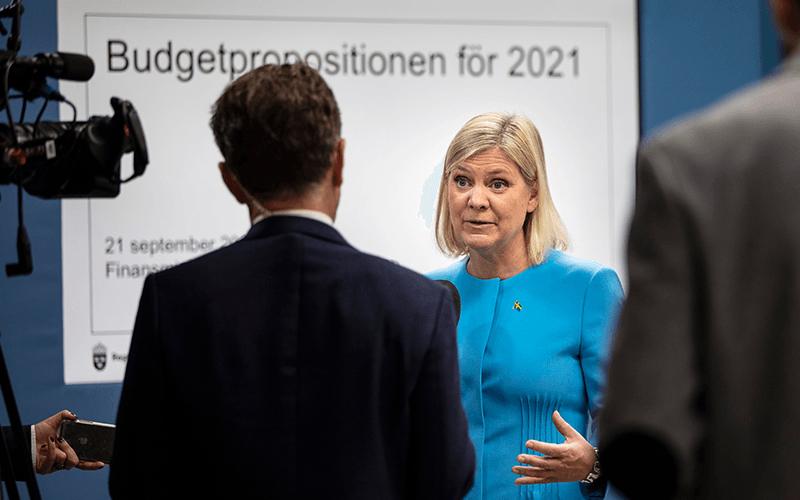 Magdalena Andersson presenterar budgetförslaget för 2021. Foto: Ninni Andersson/Regeringskansliet.
