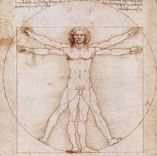 Den vitruvianske mannen – gyllene snittet. Teckning av Leonardo da Vinci.