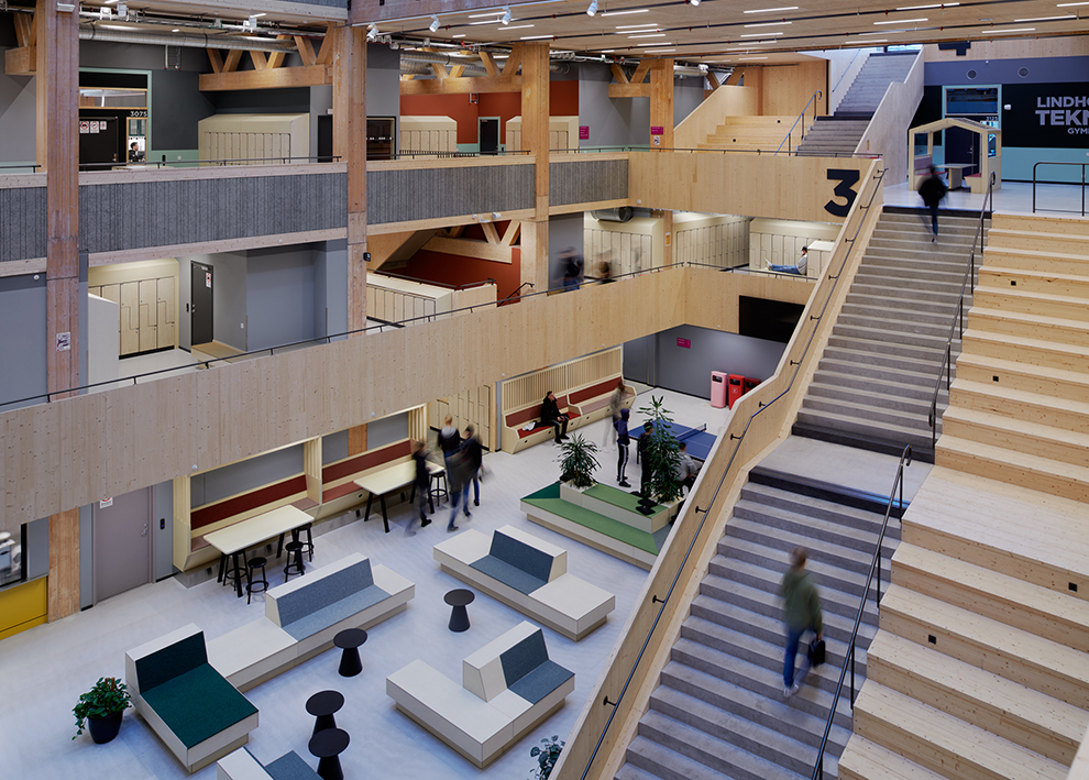 Lindholmens tekniska gymnasium i Göteborg. KUB arkitekter. Foto: Bert Leandersson.